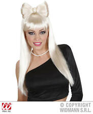 Long Blonde Bow Wig With Broach Pop Star Lady Gaga Fancy Dress