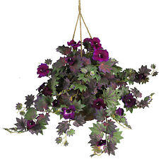 NEW MORNING GLORY SILK HANGING BASKET ARTIFICIAL FLOWER NEARLY NATURAL PLANT