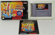 WORLD HEROES (1993) SUPER NINTENDO SNES GAME w/ BOX, MANUAL **COMPLETE**