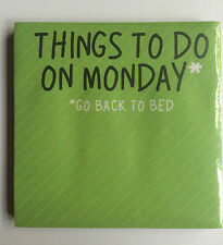 THINGS TO DO MONDAY Memo Mini Post-It-Note Sticky Notes Message Pad 60 pages