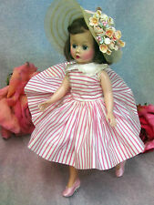 VINTAGE 1950s Mad. Alexander CISSETTE doll TAGGED pink DRESS high color BRUNETTE