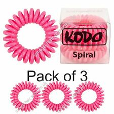 KODO Spiral Hair Bobble Pack of 3 RASPBERRY Invisible Tangle Free Hair Bands