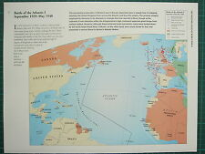 WW2 WWII MAP ~ BATTLE OF THE ATLANTIC I SEPT 1939 - MAY1940 U BOATS SUNK CONVOY