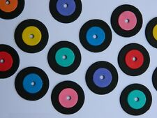 12 edible VINYL RECORDS CUPCAKE cake TOPPER decoration ROCK N ROLL music retro