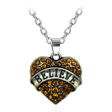 Fashion Believe Family Crystal Love Heart Pendant Rhinestone Necklace Chain 2TE8