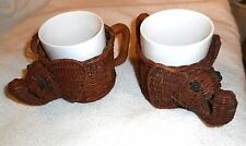 2 Vintage Elephant Wicker Basket Coffee Mug Holders w/ 2 White Ceramic Cups #26
