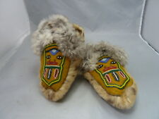 Native American Plains Indian Leather & Fur Moccasins. Very Nice Design