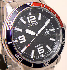 CITIZEN MEN ECO DRIVE STAINLESS STEEL BLACK FACE DATE 100m AW1520-51E cg