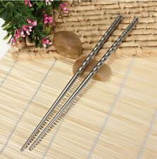 2 Pairs Chinese Stainless Steel Chopsticks Silver Non-slip Fashion Chop Sticks