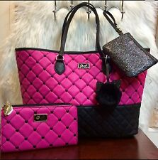 BETSEY JOHNSON FUCHSIA TOTE, WALLET & COIN PURSE 3PC SET - NWTS