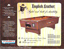 ENGLISH LEATHER By US BILLIARDS ORIG POOL TABLE SALES FLYER BROCHURE