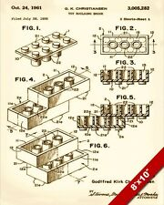 VINTAGE LEGO TOY BRICK PATENT TECHNICAL DRAWING ART REAL CANVAS GICLEE RE PRINT