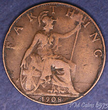 1908 Edward VII Farthing, Quarter Penny 1/4d coin [lot6573]