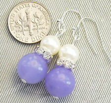 "Lavender Purple Jade & Pearl Crystal Pierced Hook Earrings 1.5"" Long .."