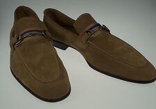 New SANTONI Fatte a Mano Horsebit Suede Loafers Shoes 13 (12) Handmade in Italy