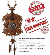 Wood Cuckoo Clock Handcrafted Deer Night Shut Sensor Black Forest Antique Style