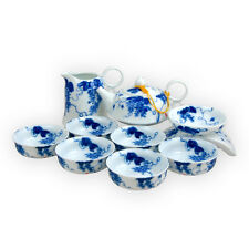 Hand Painted Bone China Porcelain Infuser Teapot Set  for 6 Glory Blue and White