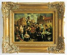 TWO OIL PAINTINGS: Jewish market, oil on panel, s Lot 539