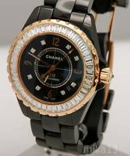CHANEL J12 BLACK CERAMIC ROSE GOLD WATCH DIAMOND BAUGETTES BEZEL 4.62 CT TW