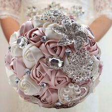 Wedding Bridal Rose Flower Hand Silk Crystal Pearl Brooch Bouquet Handmade Ivory