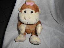 "bealls department chubby chunky brown tan cream monkey ape 7"" pink PLUSH LOVEY"