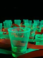 Black Light Reactive NEON Fluorescent TEQUILA SHOT GLASS VODKA DJ Party Set of 2