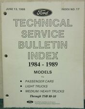 1988 Ford Technical Service Bulletin Index 1984-1989 Models Index No. 17