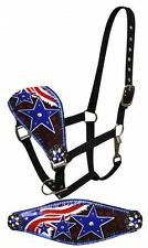 Leather Bronc Painted American Flag Design Horse Halter