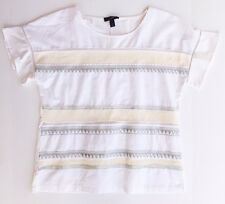 New J. Crew White Embroidered Flutter-Sleeve T-Shirt Blouse Size M