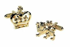Gold finish Crown & Lion Crest  Cufflinks cuff Links NEW in BOX  10583