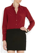 SAINT LAURENT PARIS CREPE DE CHINE CLASSIC RED SILK SHIRT BLOUSE Sz. 38FR / 6US