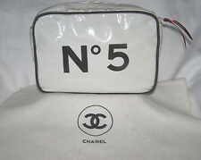 "CHANEL VINTAGE ""No 5"" BLACK+WHITE COSMETIC BAG/TRAVEL CASE w/ RIBBON ZIPPER PULL"