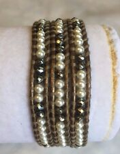 New Auth Chan Luu Pearl & Hematite Wrap Bracelet on Kensa Leather