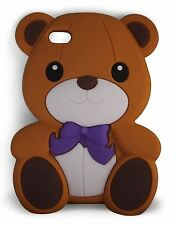 BROWN Cute Bow Bear Silicone Case for iPod Touch 5 5th gen and iPod Touch 6 6th