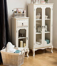 Small French Cabinet White Bedroom Furniture Vintage Cupboard Storage Glass Door