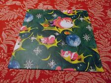 VTG CHRISTMAS WRAPPING PAPER UNUSED GIFT WRAP 1960 PINK SANTA RETRO COOL