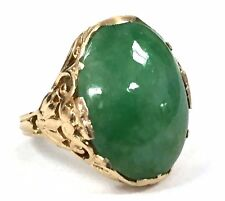Vintage Weinman Brothers 14K Gold 8.00 cts. Jadeite Jade Filigree Cocktail Ring