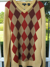 Prestige Wool Acrylic Blend Banana Diamonds Argyle V-Neck Sweater Sz. XL NWT NEW