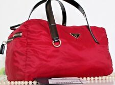 New~PRADA~Tessuto~BR2394~CERISE RED~Semitracolla~Duffel BAG~PURSE~Black Patent