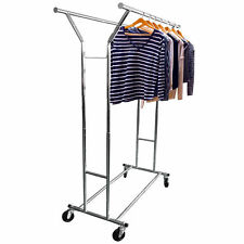 Double Heavy Duty Rail Adjustable Rolling Garment Rack Portable Clothes Hanger