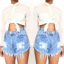 Women Lady Fashion High Waist Stripped Short Jeans Denim Pants Summer Shorts New