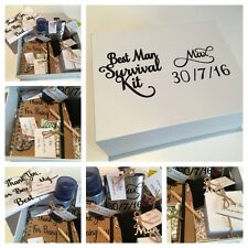 Personalised Boxed Best Man Survival Kit, With Socks, Flask, Hankie, Cufflinks..