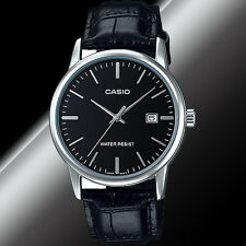 Casio MTP-V002L-1A Mens Analog Watch Leather Band Silver Black Date Display New