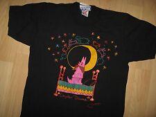 Jeff Low Tee - Vintage 1980's Neon Coyote Dreams Howling Retro Design T Shirt M