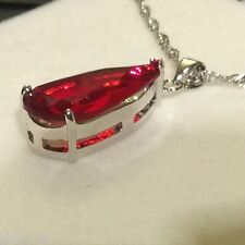 P164 Plum UK Large Red Ruby Crystal Pendant & Chain Silver (White Gold GF) BOXED