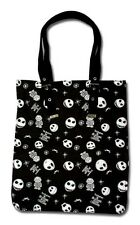 Nightmare Before Christmas Jack Skellington Skull & Bats Black Gothic Tote Bag