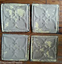 "4 6"" x 6""  Antique Tin Ceiling Tiles *SEE OUR SALVAGE VIDEOS* Taupe & Tan G15"