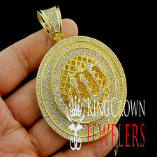 14K YELLOW GOLD FINISH ICED OUT ALLAH GOD ARABIC ISLAMIC PENDANT CHARM MEDALLION