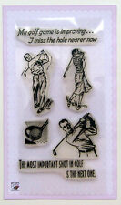 Golf players ~ clear stamps set vintage FLONZ 160 rubber acrylic