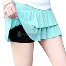 New Women Lady Silk Rayon Brief Boxers Safety Shorts Underwear Plain Pants Black